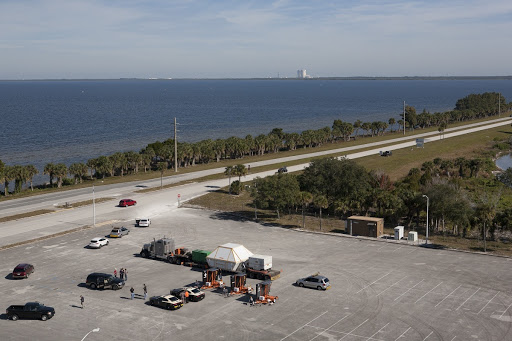 An aerial view near NASA's Kennedy Space Center Visitor Complex reveals the Orion crew module in Florida.