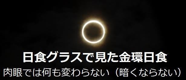 日食グラスで見た金環日食