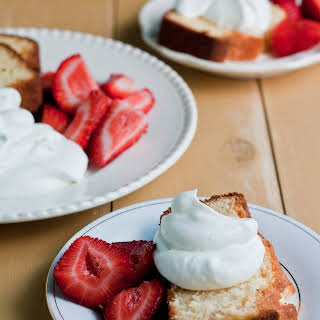 Sweetened Condensed Milk Loaf with Macerated Strawberries and Cream.