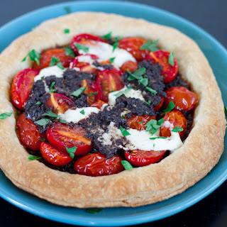 Tomato and Tapenade Tarts with Mascarpone Cheese.