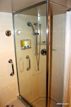 Photo: The separate shower with Elemis sharp shower gel, conditioner and shampoo.