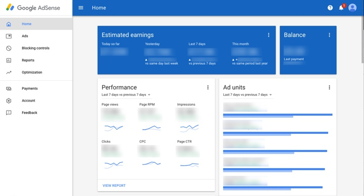 Screenshot of the AdSense interface