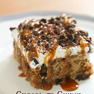 Chocolate Chunk Banana Caramel Poke Cake