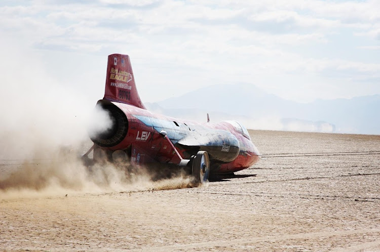 The jet-powered car reached a two-way average speed of 841.3km/h.