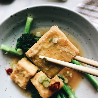 Crispy Tofu with Broccolini and a Miso Broth Recipe