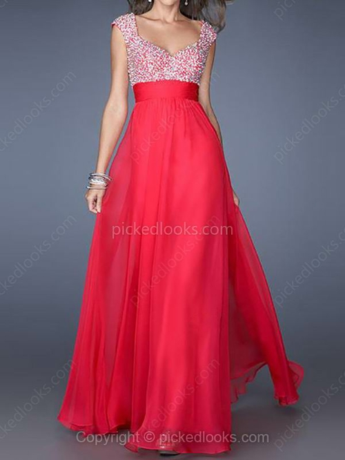 Chiffon Off-the-shoulder Floor-length A-line Beading Prom Dresses #PLS02014252