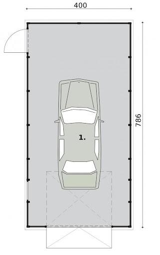 GB29 Garaż Blaszany - Rzut przyziemia