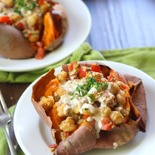 Falafel Spiced Skillet Chickpea Stuffed Sweet Potatoes