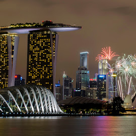 by Soon Hong - Uncategorized All Uncategorized ( reflection, skyline, architecture, cityscape, landscape, singapore, business, city, modern, sky, skyscraper, riverside, asia, festival, district, commercial, evening, downtown, office, structure, building, national day, sea, tourism, bay, outdoors, fireworks, scene, night, celebration, bridge, waterfront )