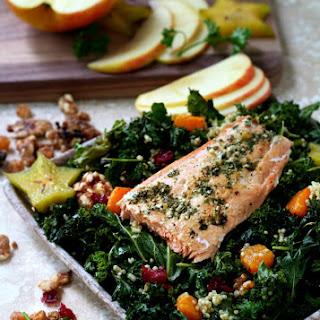 Fall Kale Salad with Garden Pesto Salmon