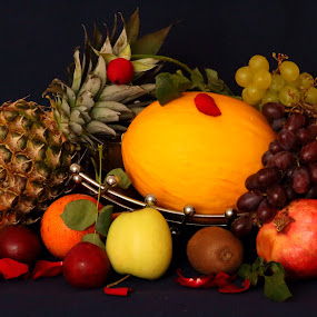 Still Life by Quel Mirhan - Food & Drink Fruits & Vegetables ( orange, melon, grapes, kiwi, apple, pineapple )