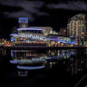 Quay Theatre, Salford Quays by Vincent Yates - City,  Street & Park  Night ( water, colourful, reflections, night, illumination,  )