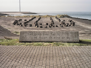 Photo: The Dutch take pride in their water management. Loosely translated, the plaque states that 'the tide is controlled by the moon, the wind and by us'by Myrthe Vermoolen