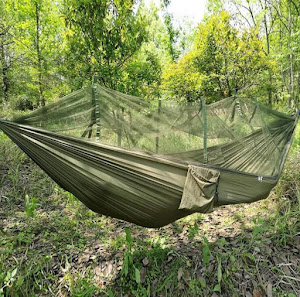 Hamac cu plasa antiinsecte, 140x210 cm, Verde Kaki