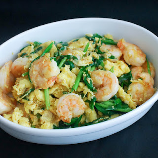 Stir-Fried Shrimp With Eggs and Chinese Chives.