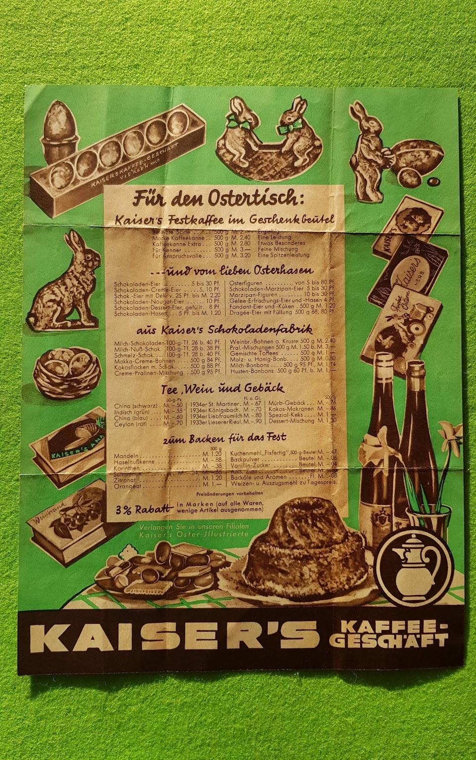 Kaiser's Kaffee Prospekt - 1935 - Preisliste