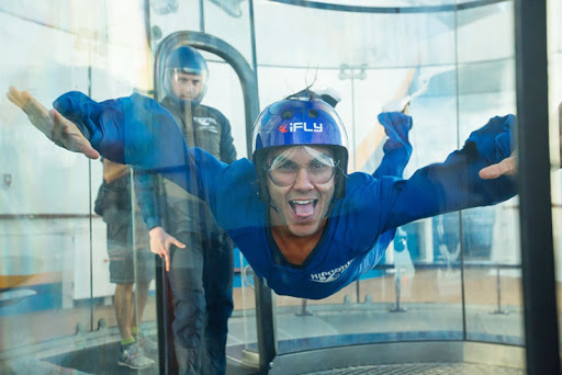 "Carlos PenaVega of ""Dancing With the Stars"" tries out iFly on Anthem of the Seas."