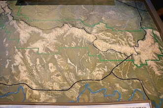 Photo: Map of the park: We entered from the west (top left) and drove the Badlands Loop Road to the Visitor Center in the east (right), then out of the park at top right.
