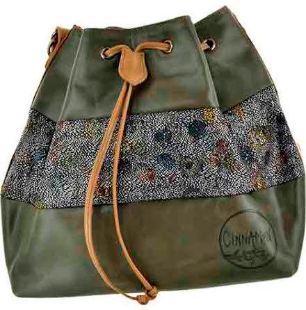 Säckväska grön/mosaik/grön med blommigt foder