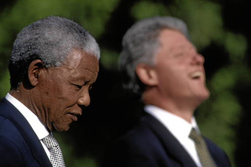 Former president Nelson Mandela during welcoming ceremonies at the Clinton White House in 1994.