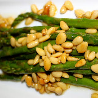 Brown Buttered Asparagus with Pignoli