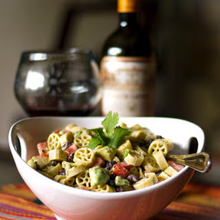 Pasta Salad with Avocado & Black Beans in a Goat Cheese Lime Vinaigrette