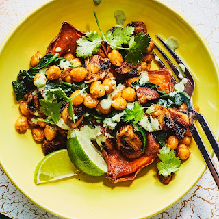 Stuffed Sweet Potatoes with Curried Chickpeas and Mushrooms Recipe | Epicurious.Com Recipe
