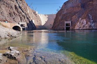 Photo: Looking upstream toward Hoover Dam and the spillway tunnels.