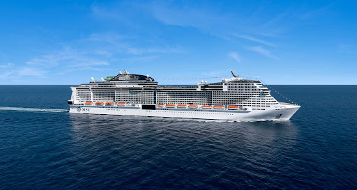 The megaship MSC Grandiosa from MSC Cruises offers sailings in and around the Mediterranean.