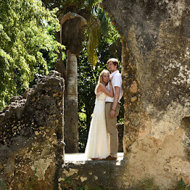 ruins 2 by Andrew Morgan - Wedding Bride & Groom ( love, zanzibar, hug, wedding, bride, tanzania )