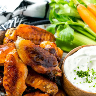 Baked Buffalo Wings with Blue Cheese Sauce