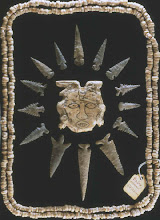 Photo: Shell beads and pendants and flaked bifces - probably from a burial at Spiro, Oklahoma.