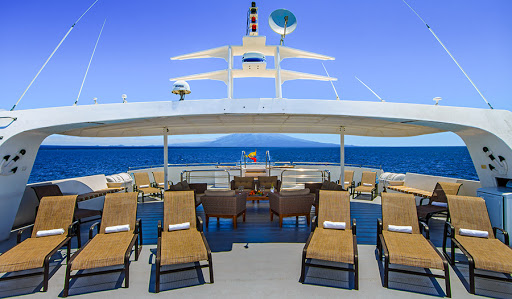 The main deck of Treasure of Galapagos, the expedition ship from Avalon Waterways.