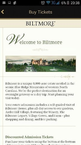 android Biltmore Tickets App Screenshot 1