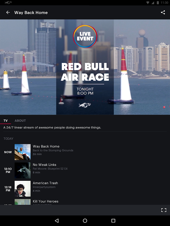 Red Bull TV – Capture d'écran