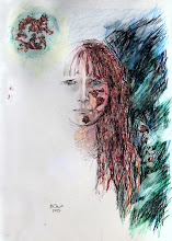 "Photo: Mirrorless Self-Portrait Series, sketch 1c, 28.5cm x 42cm, 11 1/4"" x 16 1/2"", graphite, watercolour pencils, Cretacolor aquastics, copper leaf in a Moleskine A3 Sketchbook."