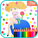 coloring little princess book icon