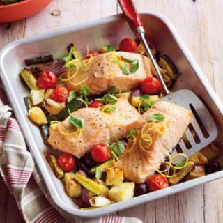 Oven-roasted Salmon With Oregano, Lemon And Tender Vegies