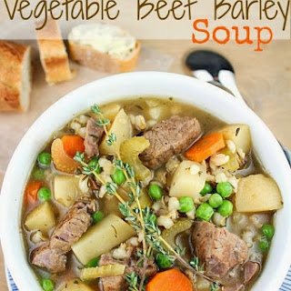 The Best Ever Slow Cooker Vegetable Beef Barley Soup.