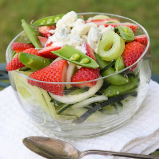 Blue Cheese Strawberry Salad with Cucumbers and Snap Peas.