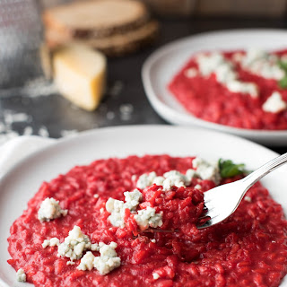 Creamy Beet Risotto with Blue Cheese Crumbles.