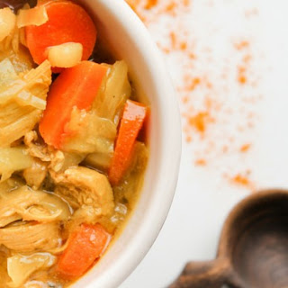 Turmeric Chicken Soup with Cabbage and Coconut.
