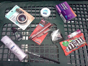 Photo: Here are all my purchases, Bella was so good so I treated her with her favorite peanut butter M&M's. I can't wait to take my Allegra and then apply all my beauty products!