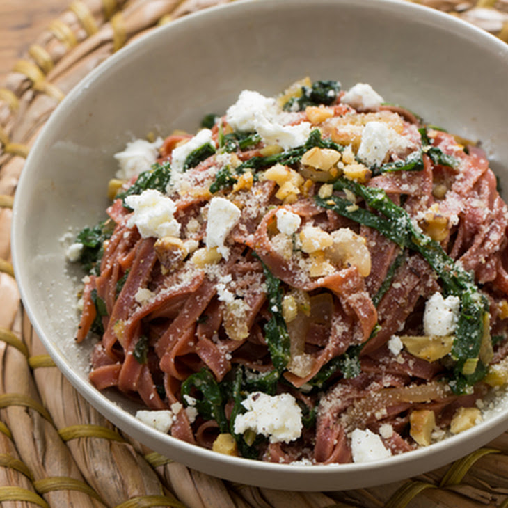 Fresh Beet Linguine with Goat Cheese, Swiss Chard & Toasted Walnuts Recipe