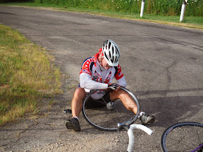 Photo: La Crosse WI to Portage WI Randy joins, us. His initiation is a 1.5 mile climb with some sections over 10%. At the top of the climb Randy gets first of 2 flats. He is trying to challenge Jim for most flats in one day