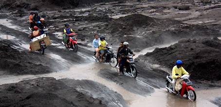 Photo: Washed out roads after the eruption