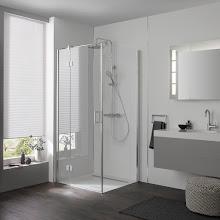 Duschkabinen_Drehtür pendelbar an Nebenteil und Seitenwand