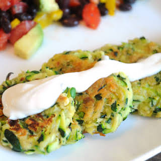 Zucchini Fritters with Vegan Sour Cream.