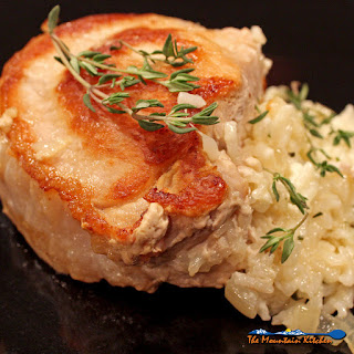 Cheesy Rice Stuffed Pork Chops.