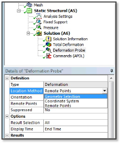 ANSYS - Измерение перемещений (Deformation Probe) для геометрического элемента, системы координат либо связанной точки
